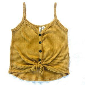 Sky and Sparrow Mustard Yellow Waffle Knit Top